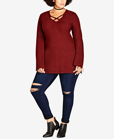 City Chic Trendy Plus Size Strappy Sweater