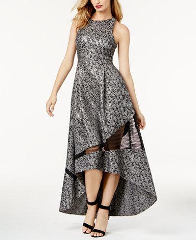 SB by Sachin & Babi Metallic-Print Mesh-Inset Evening Gown, Created for Macy's