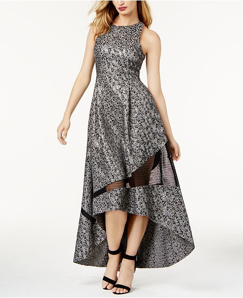 eb7872f082 ... Sachin   Babi SB by Metallic-Print Mesh-Inset Evening Gown