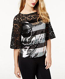 SB by Sachin & Babi Sequined Lace Blouse, Created for Macy's