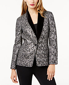 SB by Sachin & Babi Velvet-Trim Metallic Blazer, Created for Macy's