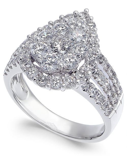 Macy's Diamond Cluster Engagement Ring (2 ct. t.w.) in 14k White Gold