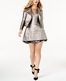 SB by Sachin & Babi Metallic Moto Jacket & Cocktail Dress, Created for Macy's
