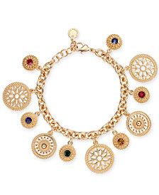 Charter Club Gold-Tone Multi-Stone Disc Charm Bracelet, Created for Macy's