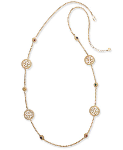 Charter Club Gold-Tone Colored Stone & Flower Station Necklace, Created for Macy's