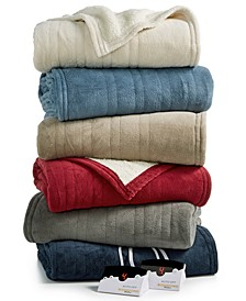 Microplush Reverse Faux Sherpa Heated Blankets