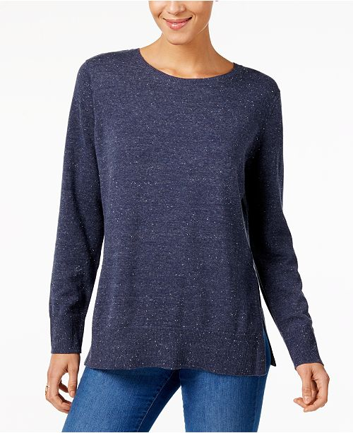 Style & Co Cotton Crew-Neck Sweater, Created for Macy's