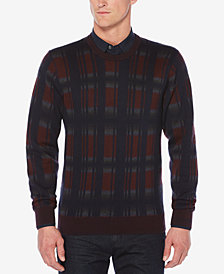 Perry Ellis Men's Exploded Plaid Sweater