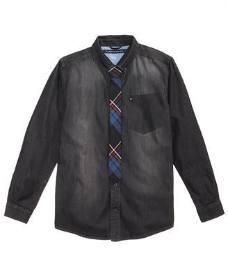 Tommy Hilfiger Niles Denim Cotton Shirt & Tie, Big Boys