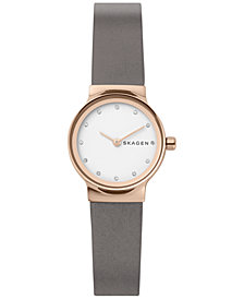 Skagen Women's Freja Gray Leather Strap Watch 26mm