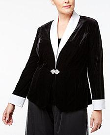 Alex Evenings Plus Size Velvet Rhinestone Jacket & Shell