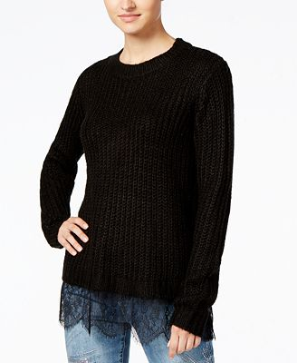 Ultra Flirt by Ikeddi Juniors' Lace-Trim Sweater