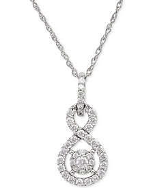 Diamond Twist Pendant Necklace (1/2 ct. t.w.) in Sterling Silver