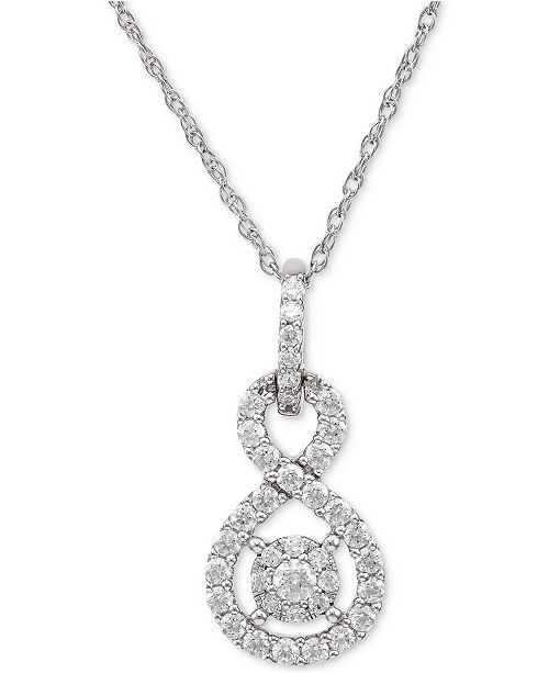 Macys diamond twist pendant necklace 12 ct tw in sterling main image aloadofball Gallery