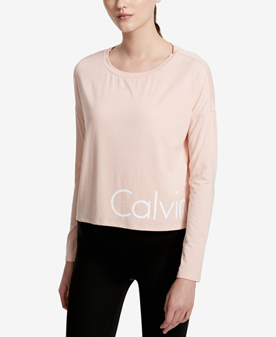 Calvin Klein Performance Logo Cropped Long-Sleeve T-Shirt