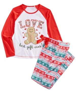 Max  Olivia 2Pc Love Pajama Set Little Girls (46X)  Big Girls (716) Created for Macys
