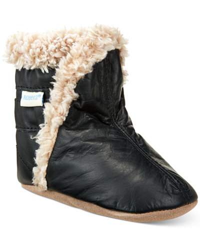 Robeez Classic Booties with Faux-Fur Trim, Baby Boys