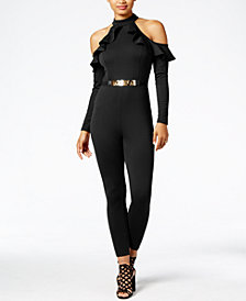 Material Girl Juniors' Cold-Shoulder Ruffled Jumpsuit, Created for Macy's