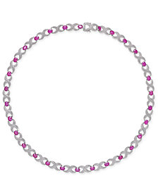 "Certified Ruby (16-1/2 ct. t.w.) & Diamond Accent Collar 18"" Necklace in Sterling Silver"
