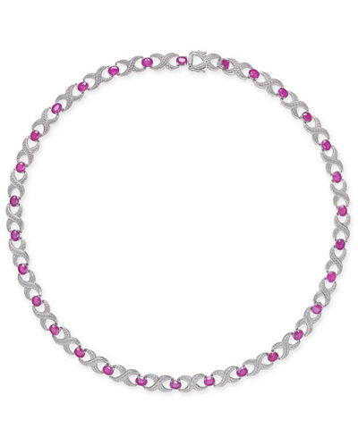 Certified Ruby (16-1/2 ct. t.w.) & Diamond Accent Collar 18