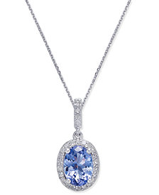 Tanzanite (1-1/2 ct. t.w.) & Diamond (1/8 ct. t.w.) Pendant Necklace in 14k White Gold