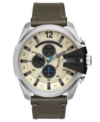 Men's Chronograph Mega Chief Olive Leather Strap Watch 51mm