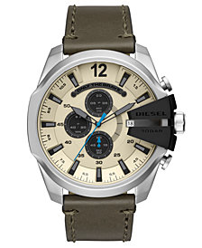 Diesel Men's Chronograph Mega Chief Olive Leather Strap Watch 51mm