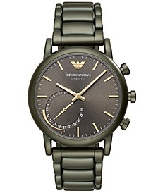 Emporio Armani Men's Connected Green Stainless Steel Bracelet Hybrid Smart Watch 43mm