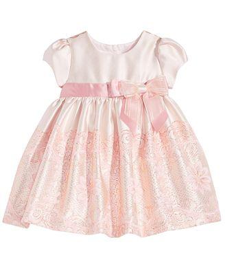 Bonnie Baby Metallic Jacquard Dress Baby Girls Dresses
