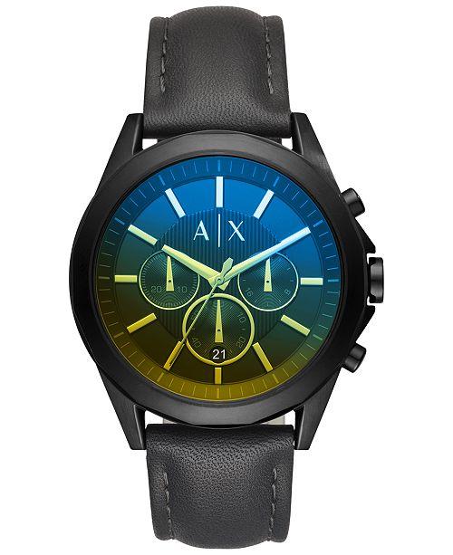 Armani Exchange A|X Men's Chronograph Drexler Black Leather Strap Watch 46mm