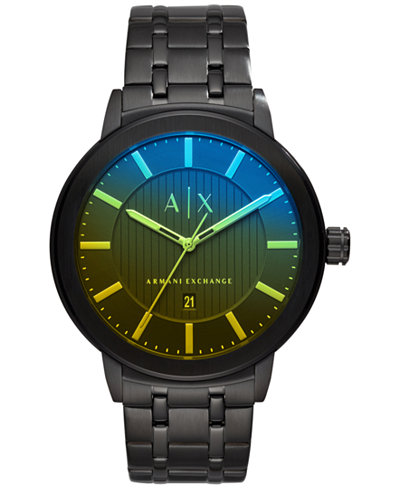 A|X Armani Exchange Men's Maddox Black Stainless Steel Bracelet Watch 46mm