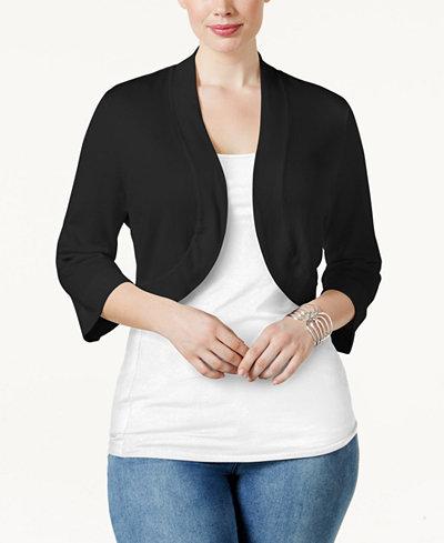 Jessica Howard Plus Size Shrug Cardigan - Sweaters - Women - Macy's