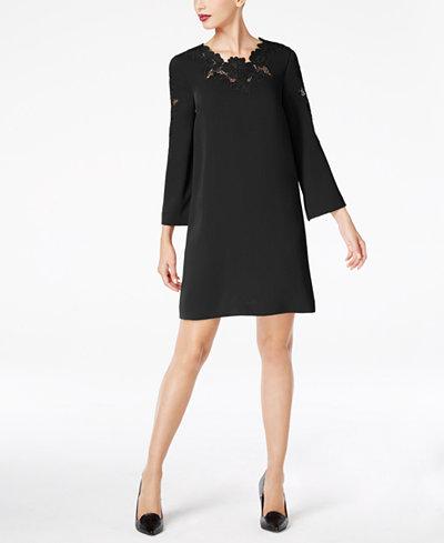 Alfani Petite Lace-Trim Bell-Sleeve Dress, Created for Macy's