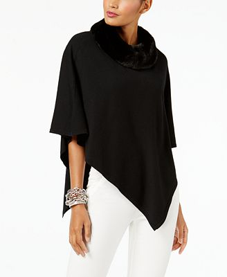 Alfani Faux Fur Collar Poncho Sweater Created For Macys Sweaters