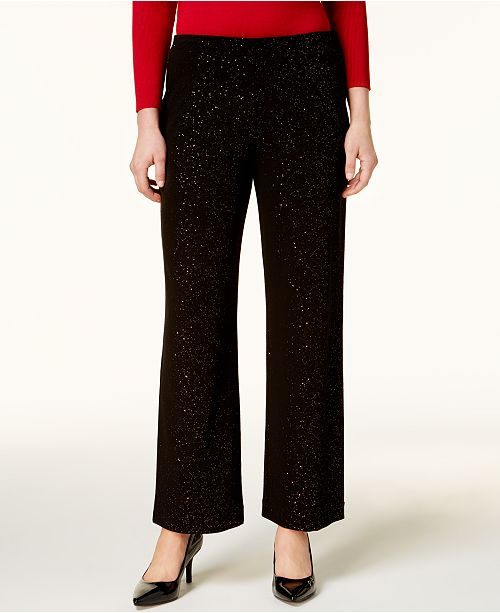 Alfani Petite Glitter Wide-Leg Pants, Created for Macy's