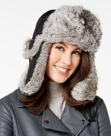 Rabbit Fur Trim Quilted Trooper Hat
