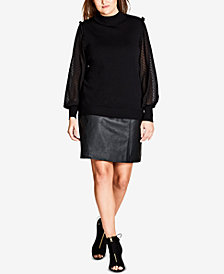 City Chic Trendy Plus Size Sheer-Sleeve Sweater