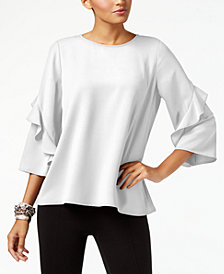Alfani Petite Ruffle-Sleeve Top, Created for Macy's