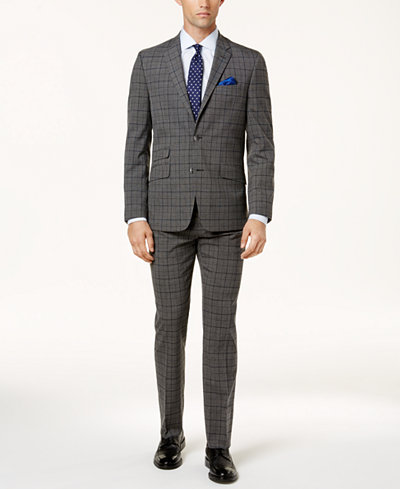 Ben Sherman Men's Slim-Fit Blue & Gray Plaid Comfort Stretch Suit