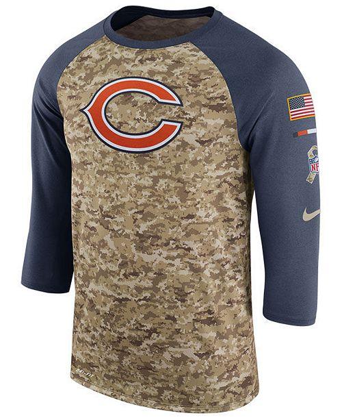huge discount 6d70a fb851 Nike Men's Chicago Bears Salute To Service Raglan T-Shirt ...