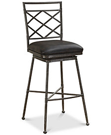 Sydney Leather Swivel Counter Stool, Quick Ship