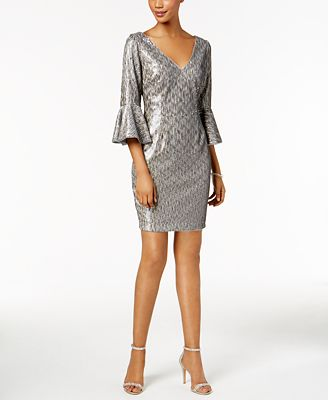 Adrianna Papell Petite Sequined Bell-Sleeve Dress