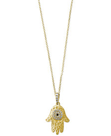 Caviar by EFFY® Diamond Accent Hamsa Hand Pendant Necklace in 14k Gold