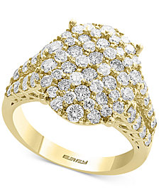 D'Oro by EFFY® Diamond Cluster Statement Ring (2-1/10 ct. t.w.) in 14k Yellow, White and Rose Gold