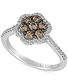 Le Vian Chocolatier® Diamond Flower Cluster Ring (3/4 ct. t.w.) in 14k White Gold