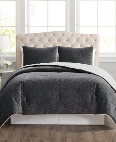 CLOSEOUT! Truly Velvet 3-Pc. Reversible Full/Queen Comforter Set