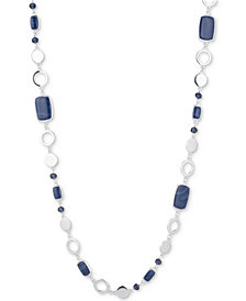 Nine West Silver-Tone Blue Stone & Bead Strand Necklace