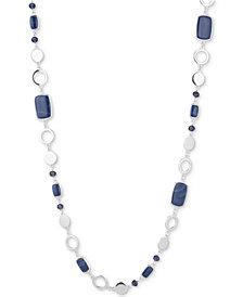 Nine West Silver-Tone Blue Stone & Bead Strand Necklace