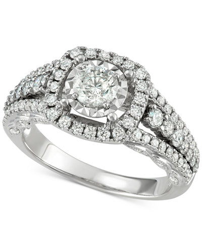 Diamond Halo Engagement Ring (1-5/8 ct. t.w.) in 14k White Gold