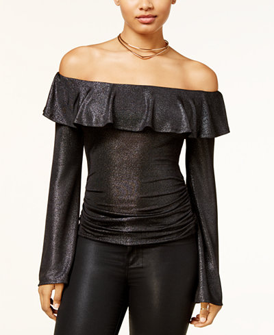 BCX Juniors' Off-The-Shoulder Flounce Sweater
